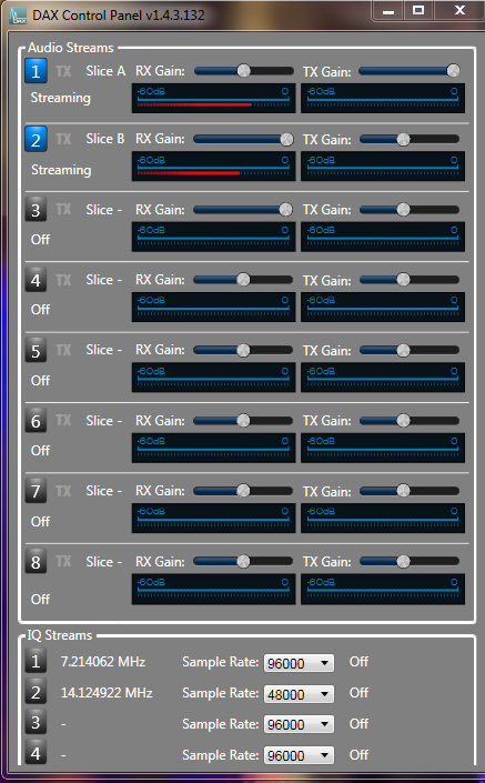 DAX ver 1.4.3 control panel.