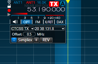 SmartSDR using standard FM, CTCSS TX encode and offset set for the W9YB 6m repeater in my area.  Too bad that repeater is offline due to a lightning strike :-(