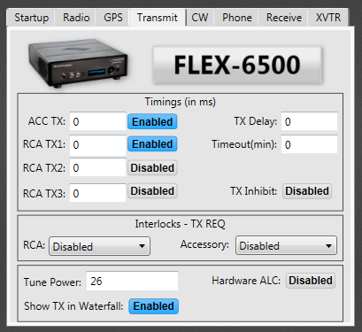 SmartSDR ver 1.4.3 Radio Setup menu - TX menu tab.  There is the button that enables external TX RCA jack!